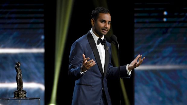 Aziz Ansari accepts the Charlie Chaplin award for excellence in comedy at the BAFTA Los Angeles Britannia Awards on ...