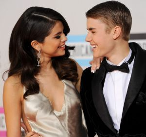 Selena Gomez, left, and Justin Bieber at the 39th Annual American Music Awards on Sunday, November 20, 2011 in Los Angeles.