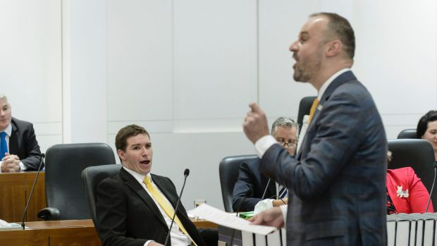 Opposition leader Alistair Coe reacts as Chief Minister Andrew Barr responds to the motion of no confidence against him.