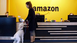 FILE - In this Wednesday, Oct. 11, 2017, file photo, an Amazon employee gives her dog a biscuit as the pair head into a ...