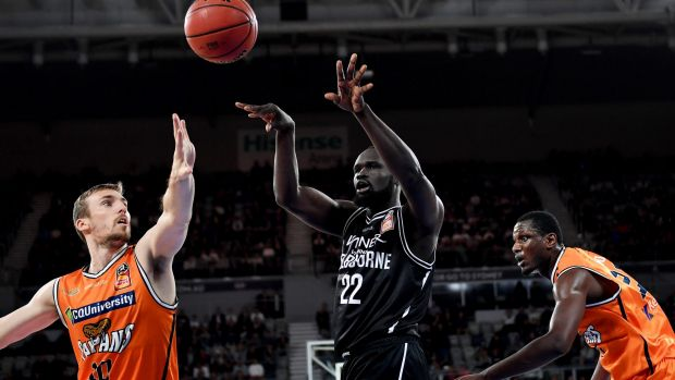 Melbourne United's Majok Majok continues to battle a groin injury.