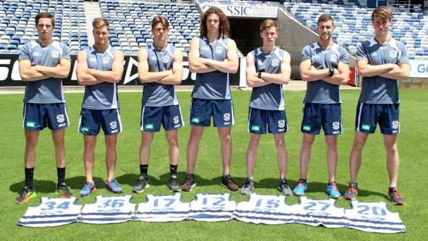 Tom Ruggles (second left) with fellow Geelong 2015 recruits (from left) James Parsons, Jock Cornell, Wylie Buzza, ...