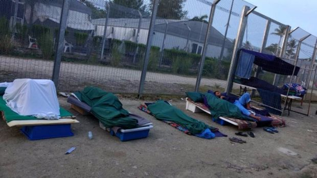 Rough sleeping conditions inside the Manus Island regional processing centre, which 600 refugees and asylum seekers ...