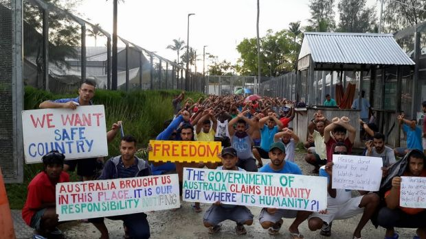 Refugees and asylum seekers protesting inside the now-closed regional processing facility on Manus Island, which they ...