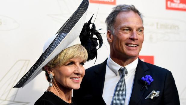 Foreign Minister Julie Bishop and ''boyfriend'' David Panton in the Emirates marquee on Derby Day.