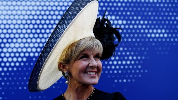 Acting prime minister and deputy Liberal leader Julie Bishop in the Emirates marquee at Flemington.