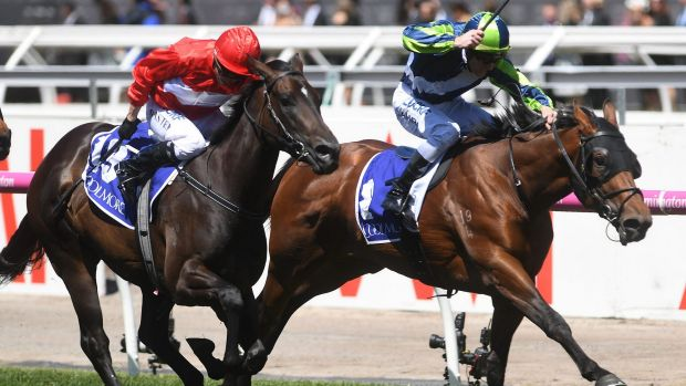Smooth sailing: Royal Navy Merchant Navy takes out  the Coolmore Stud Stakes at Flemington last spring.