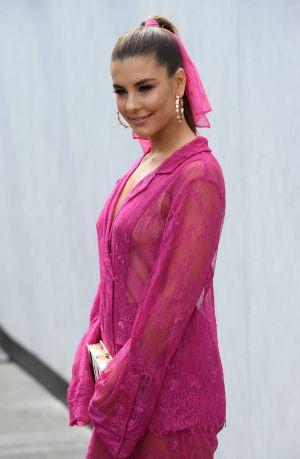 Television presenter Lauren Phillips was also thinking pink.