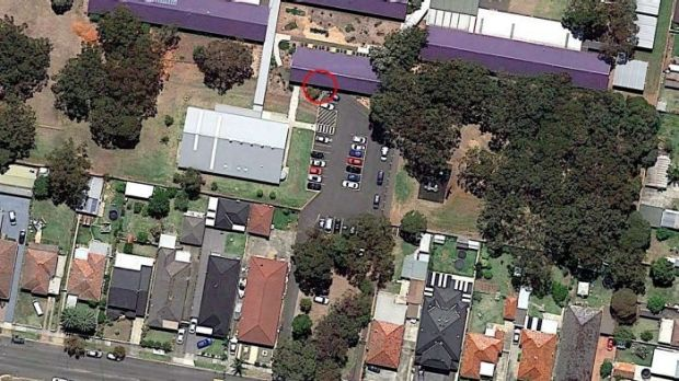 An aerial view of the school and location of the crash.