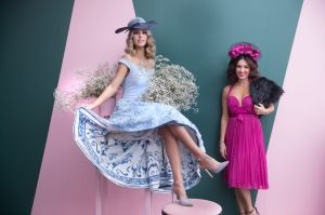 Melbourne Cup Fashions . Pic shows Nichole Costantino in dress by Vezzano Couture and hat by Marilena Romeo .Pic Simon ...