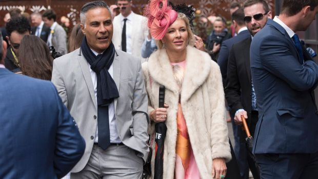 Ahmed Fahour and his wife in the Birdcage at the Melbourne Cup.