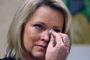 Former Boston television news anchor Heather Unruh speaking about the alleged sexual assault of her teenage son by actor ...