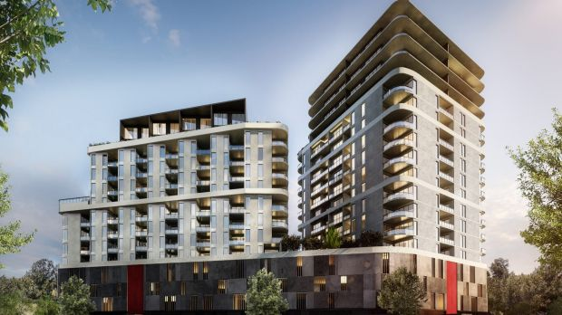 An artist impression of Ruby Gungahlin, which will consist of two residential towers ranging from 14 to 18 storeys.