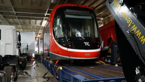 Canberra's first tram is transported on to a ship bound for Australia from Spain.