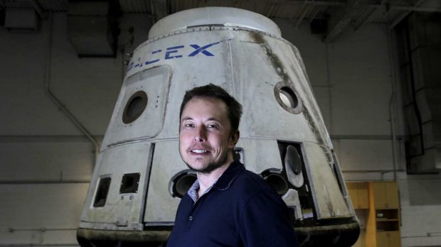 CEO Elon Musk with the SpaceX Dragon capsule.