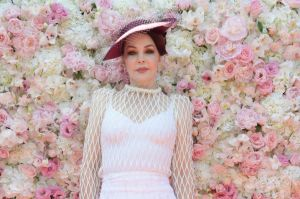Priscilla Presley arrives at the Kennedy Marquee in the Birdcage during the Kennedy Oaks Day.