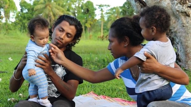 Rohingya refugee Alex Rashid and his wife Molly and children on Manus Island