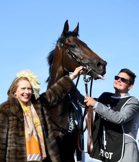 Gai Waterhouse is seen with the Pinot after the filly won the Kennedy Oaks on Oaks Day at Flemington Racecourse in Melbourne.