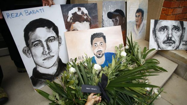 A depiction of Reza Barati, who was killed on Manus Island, and other people who died in Australian immigration ...