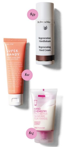 Dr Hauschka Regenerating Hand Cream, $49. Go-To Super Handy, $21. Hand Chemistry Pro-Repair Skincare for Hands, $14.