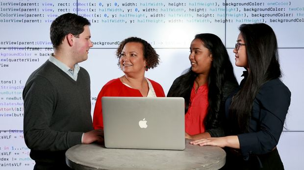 Apple VP Lisa Jackson meets RMIT students at the university this week.