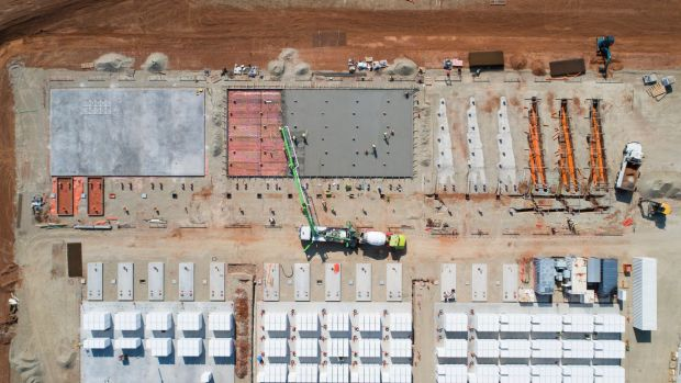 The world's biggest lithium iron battery farm takes shape near Jamestown, 200 kilometres north of Adelaide.