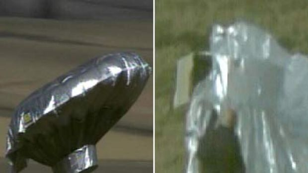 Mystery ... the home-made aircraft flew through the Colorado skies, top left, before being deflated when it came back ...