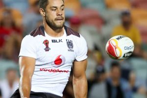 Jarryd Hayne in action for Fiji at the Rugby League World Cup.