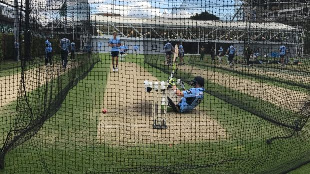 Steve Smith batting in the SCG nets against Pat Cummins and Mitchell Starc.
