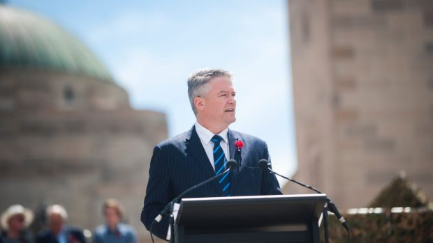 Finance Minister Mathias Cormann delivers the commemorative address at the War Memorial.
