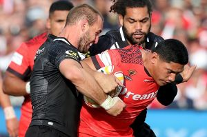 On the charge: Jason Taumalolo has been a devastating force for the Tongans.
