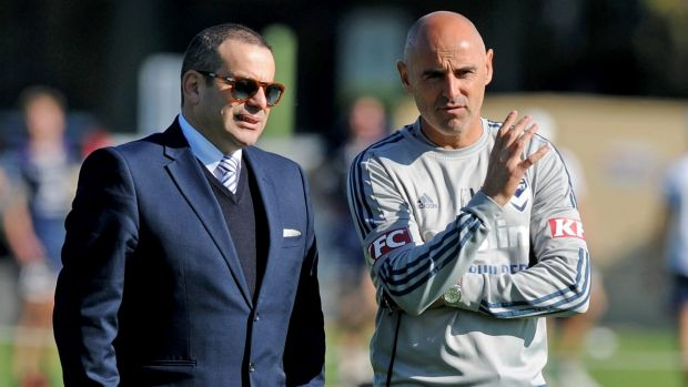 Melbourne Victory coach Kevin Muscat (right) chats with chairman Anthony Di Pietro.