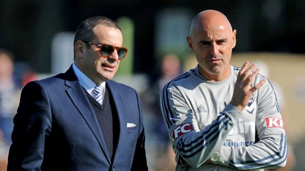 New boss on the way: Melbourne Victory coach Kevin Muscat chats with chairman Anthony Di Pietro.