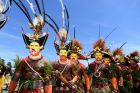 Traditional dancers perform in the pre-match entertainment ahead of the Pool C, round 3 Rugby League World Cup match ...