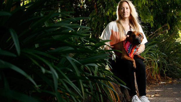 Good dog: Calley Gibson, from Sydney, brought her social media star rescue dog Pikelet to Melbourne to help raise money ...