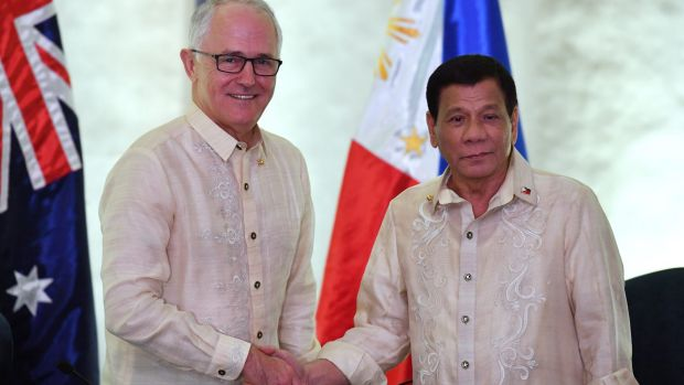 Australia's Prime Minister Malcolm Turnbull meets Philippines President Rodrigo Duterte for a bilateral meeting during ...