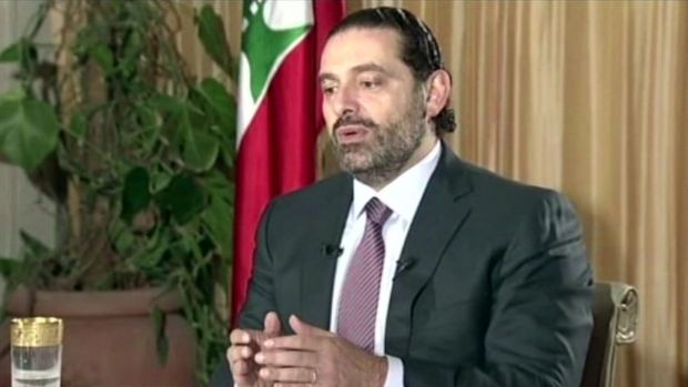 Lebanon's Prime Minister Saad Hariri speaking on TV from Riyadh, Saudi Arabia, on Sunday.