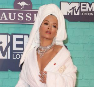 Just Rita Ora forgetting to change from a bathrobe to her outfit.