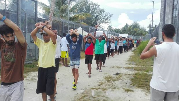 Refugees on Manus Island were engaged in a protest at the old detention centre last month. About 60 men have been ...