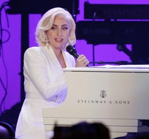 Lady Gaga performs during a hurricanes relief concert in College Station, Texas.