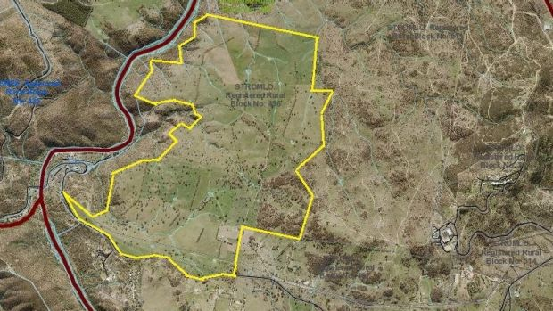 The land (in yellow) the ACT government bought at Mt Stromlo for $7.5 million, under the LDA's old rules on its final ...