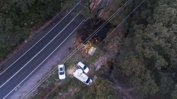 The scene of the fiery fatal crash in North Narrabeen.