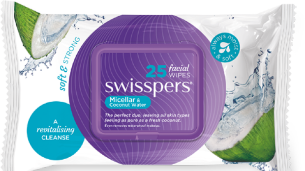 Swisspers micellar and coconut water wipes.