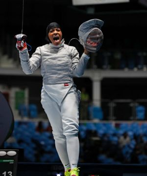 Ibtihaj Muhammad during the 2016 Summer Olympics, in which she won a Bronze medal in saber fencing.
