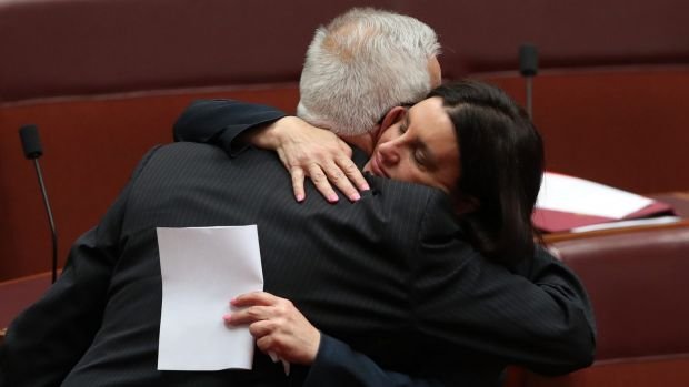 Jacqui Lambie was embraced by Senator Doug Cameron.