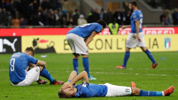 Devastated Italian players after failing to qualify for the World Cup.