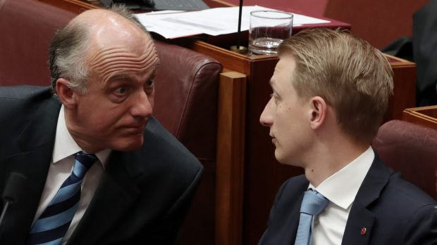 Liberal senators Eric Abetz and Senator James Paterson in the Senate on Tuesday.