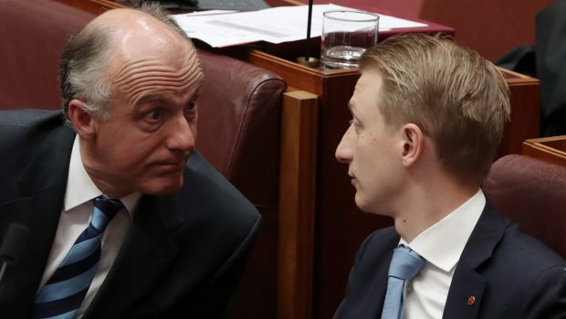 Senator Eric Abetz and Senator James Paterson, pictured on Tuesday, have supported a bill that would allow parents to ...