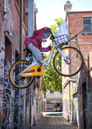 Someone has used an oBike in Fitzroy as a homage to the classic film E.T. the Extra-Terrestrial.