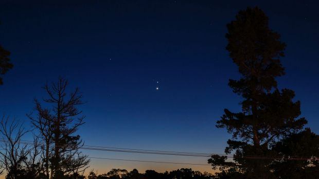 This image, taken in Brisbane in 2016, shows a Jupiter-Venus conjunction, with Venus the lower star in the centre of the ...